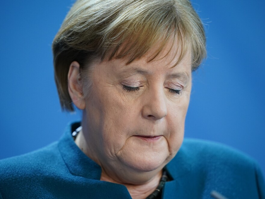 German Chancellor Angela Merkel speaks to the media to announce further measures to combat the spread of the coronavirus and COVID-19 on March 22, 2020 in Berlin.