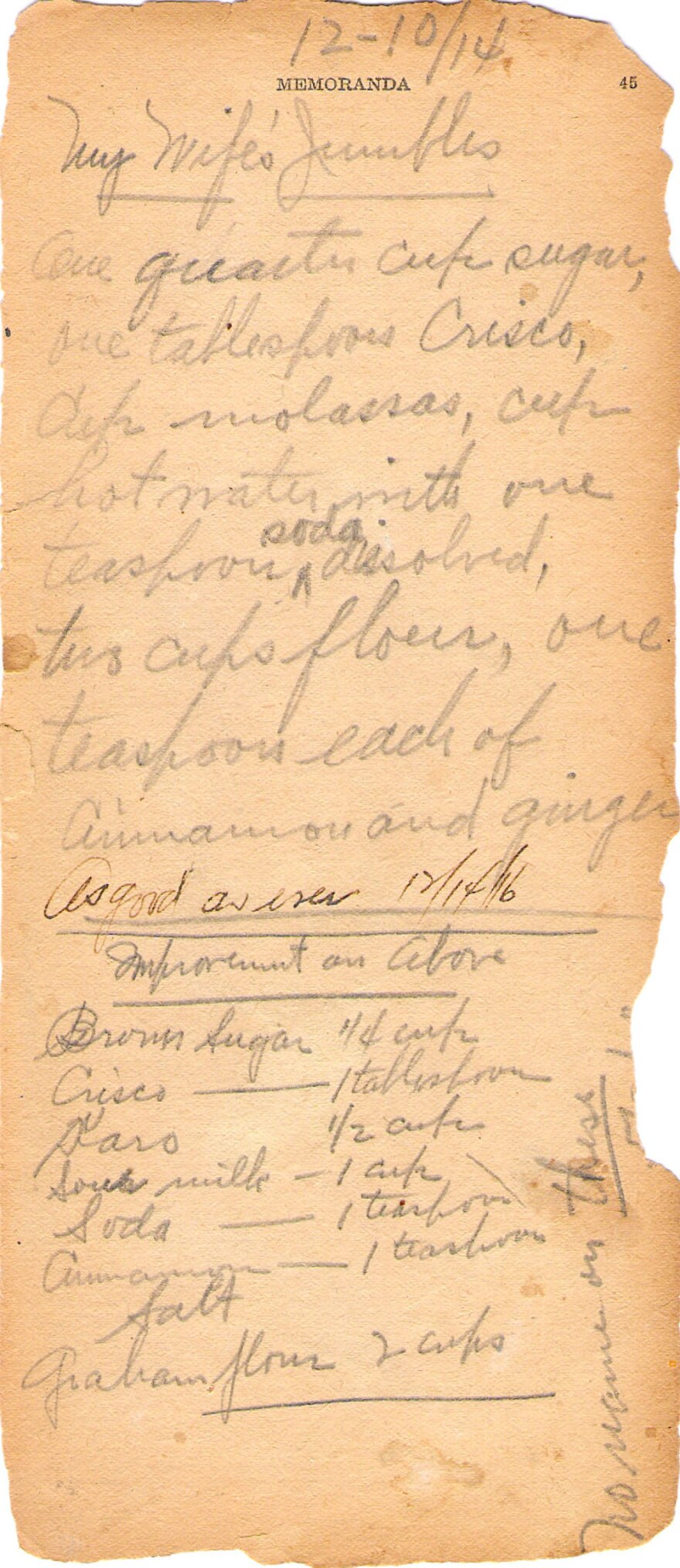 In 1914, Frederick Rickmeyer documented his wife's cookie recipe on the blank memoranda pages of a cookbook.