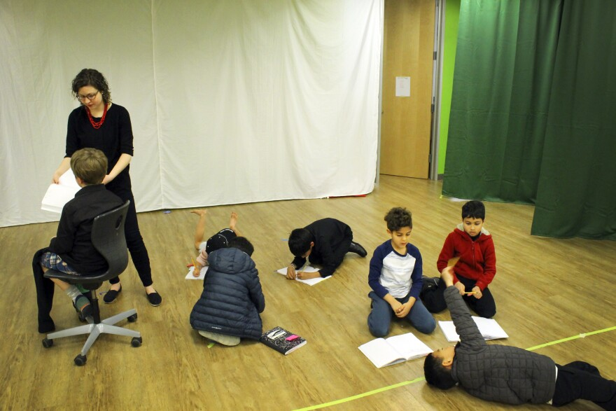 Students rehearse a play at the Khan lab school.