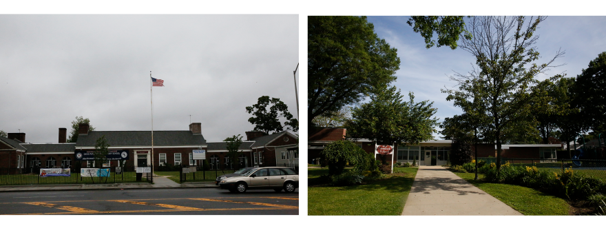 Left: David Paterson Elementary School in the Hempstead Union Free School District on Long Island, N.Y. Right: Hemlock School, an elementary school in nearby Garden City.