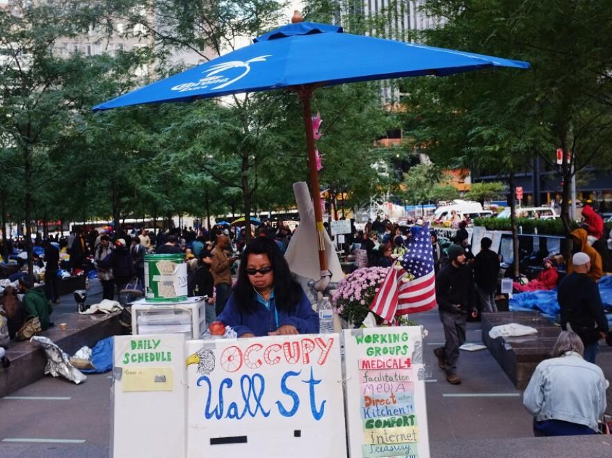 "An ""Occupy Wall Street"" demonstrator at Zuccotti Park"
