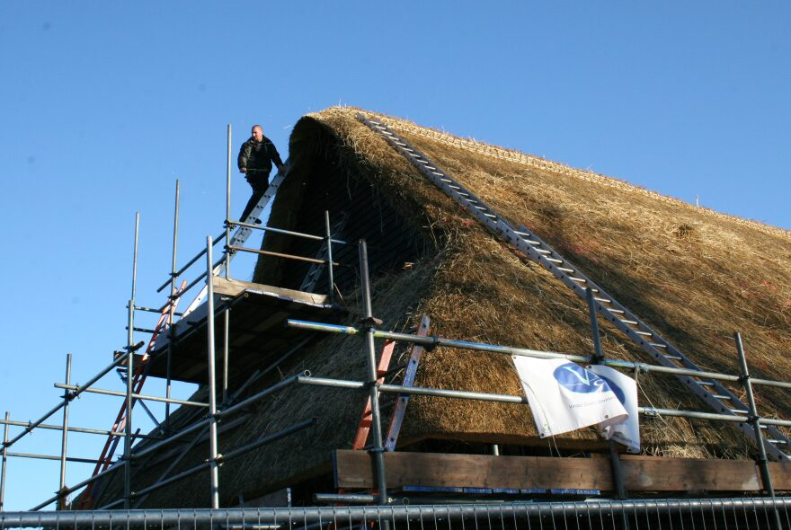 The barn was re-thatched in 2013. The work only lasted six months before the jackdaws began dismantling it.