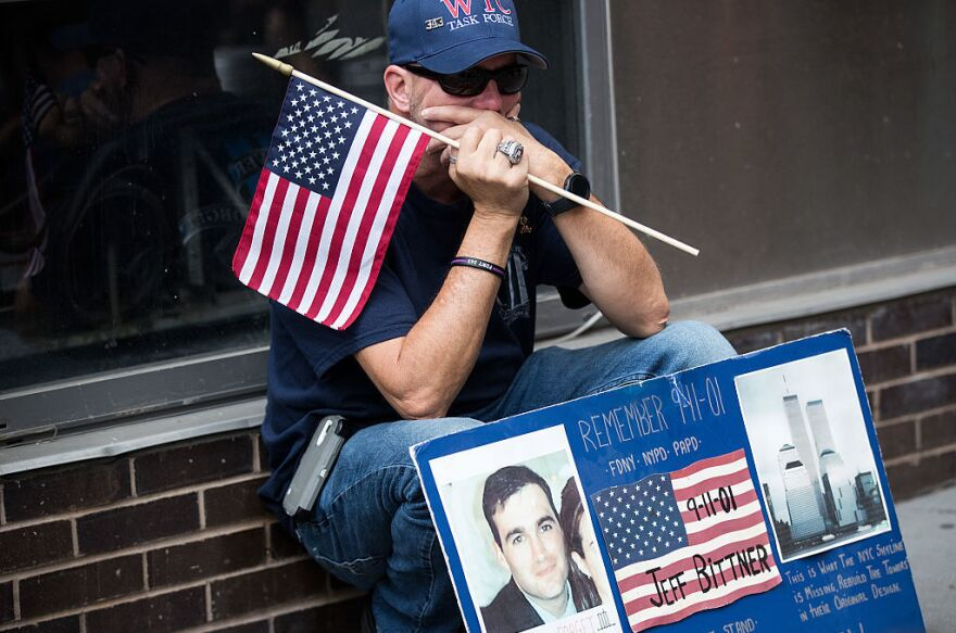 A man pauses near the Sept. 11 Memorial site in New York City.
