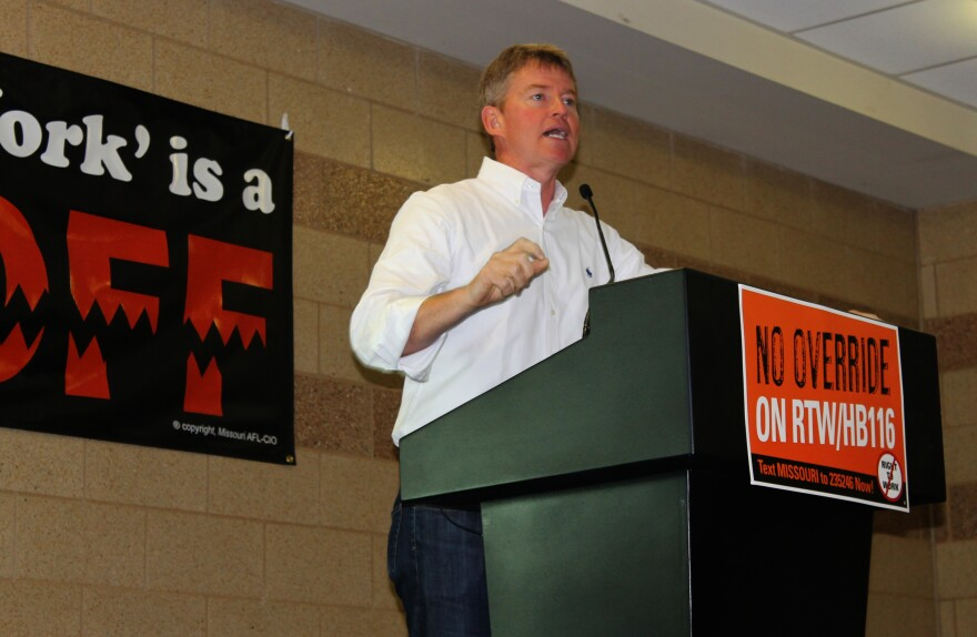 Missouri Attorney General Chris Koster explains why he's against 'right-to'work' Saturday, Sept. 12, 2015 in Arnold, Mo. Koster is running for governor of Missouri in 2016.