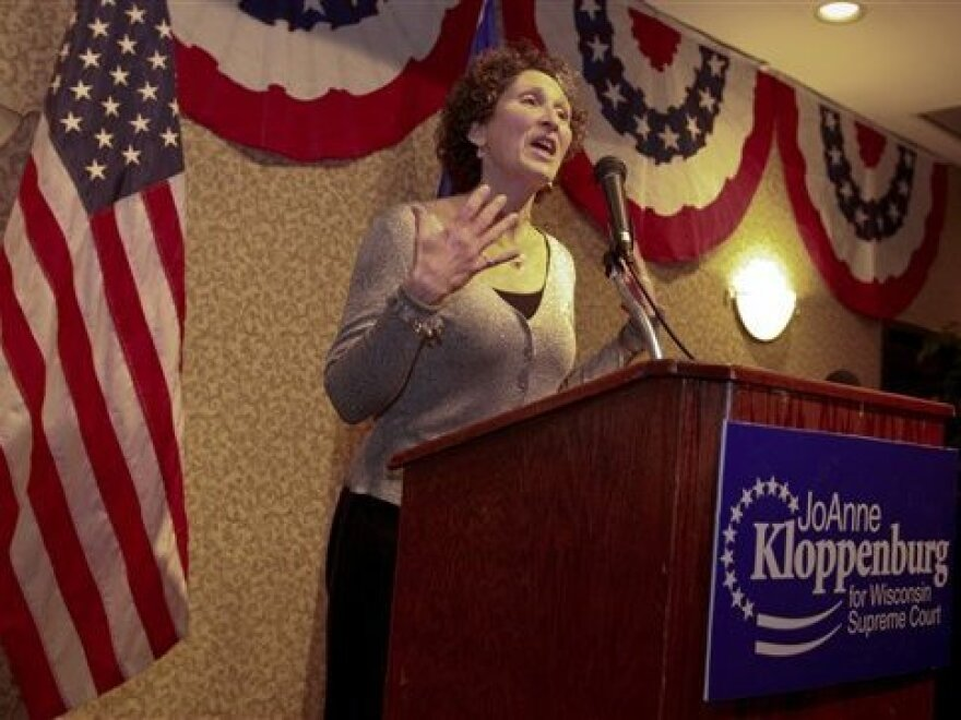 Wisconsin Supreme Court candidate JoAnne Kloppenburg, addresses supporters in Madison on Wednesday.