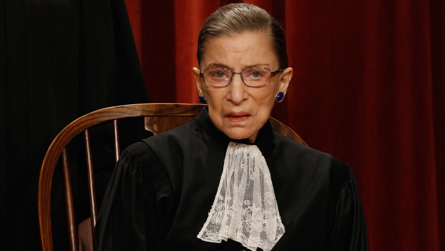 U.S. Supreme Court Justice Ruth Bader Ginsburg, shown wearing one of her trademark collars in 2010, now has an insect named in her honor.