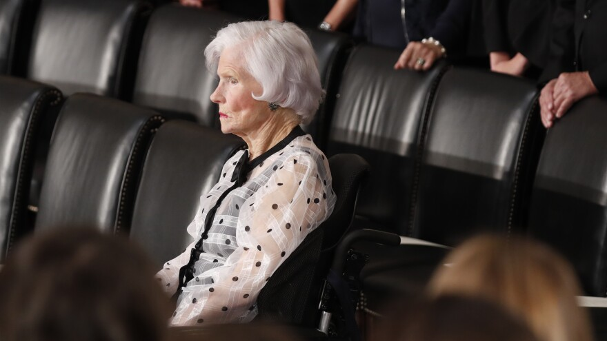 Roberta McCain, the mother of late U.S. Senator John McCain, is seated prior to ceremonies honoring him in the Capitol Rotunda, Aug. 31, 2018