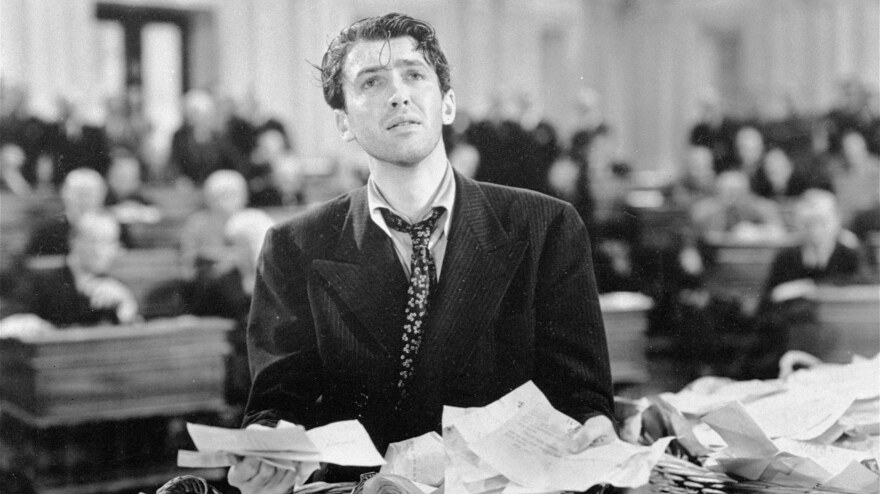 """Actor Jimmy Stewart in a scene from the 1939 movie <em>Mr. Smith Goes to Washington,</em> which popularized the notion of a """"talking filibuster."""" Even under changes negotiated in the Senate, the talking filibuster remains a thing of the past."""