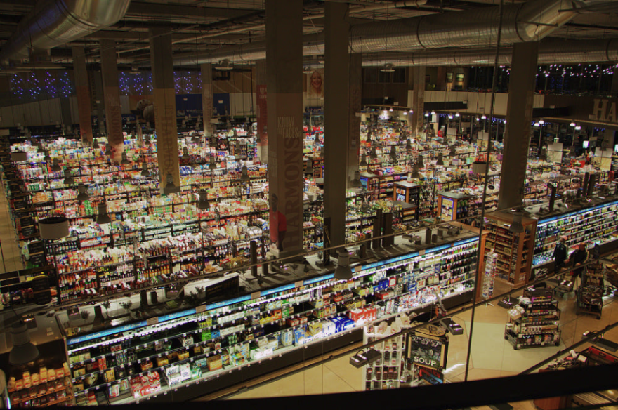 Photo inside Harmons Grocery Store in downtown Salt Lake City
