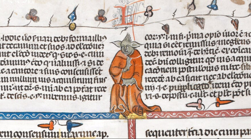 A religious volume from the early 1300s includes this image of a monk who resembles the Jedi Master Yoda of the <em>Star Wars</em> films.