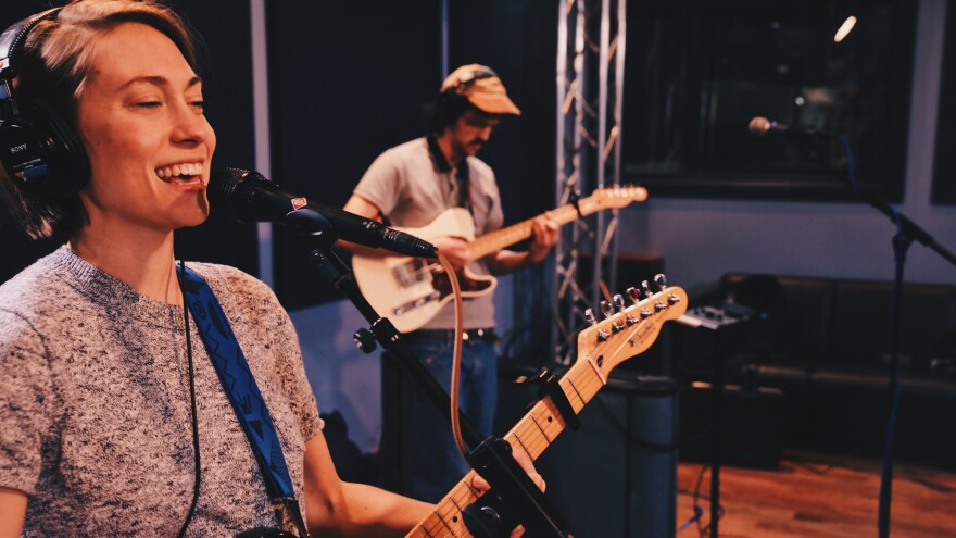 Anna Burch performs inside the World Cafe Performance Studio in Philadelphia, Penn. for Indie Rock Hit Parade .