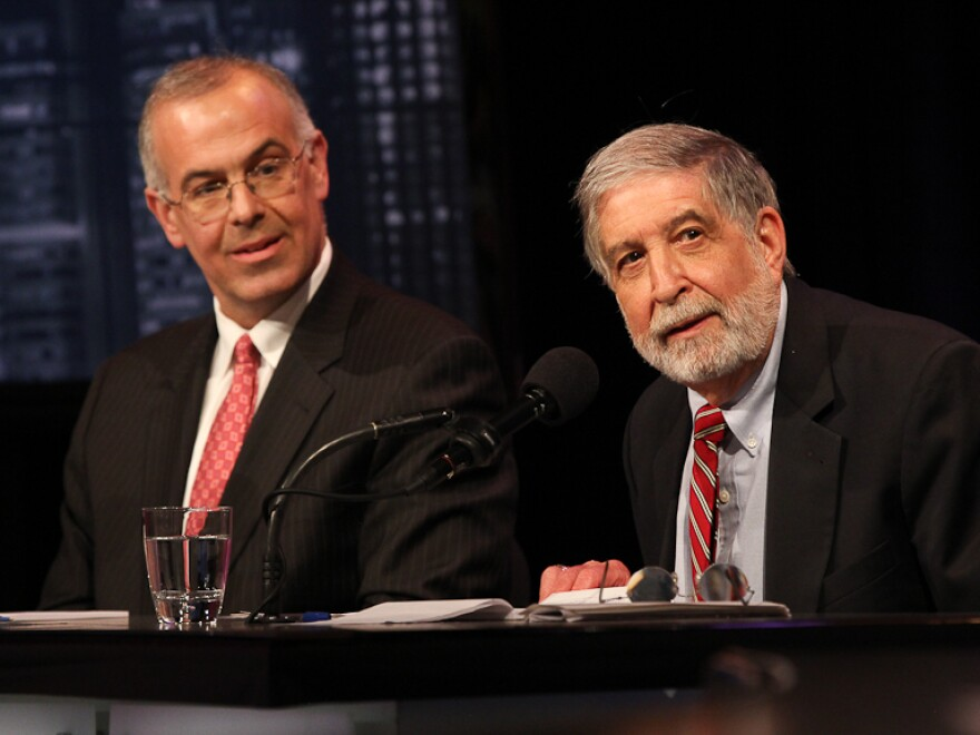 David Brooks (left) and Mickey Edwards argue in favor of the Republican Party seizing the center in an <em>Intelligence Squared U.S.</em> debate.