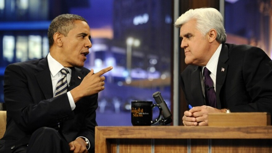 <p>President Obama gestures during his appearance Tuesday (Oct. 25, 2011) on NBC's <em>The Tonight Show with Jay Leno</em>.</p>