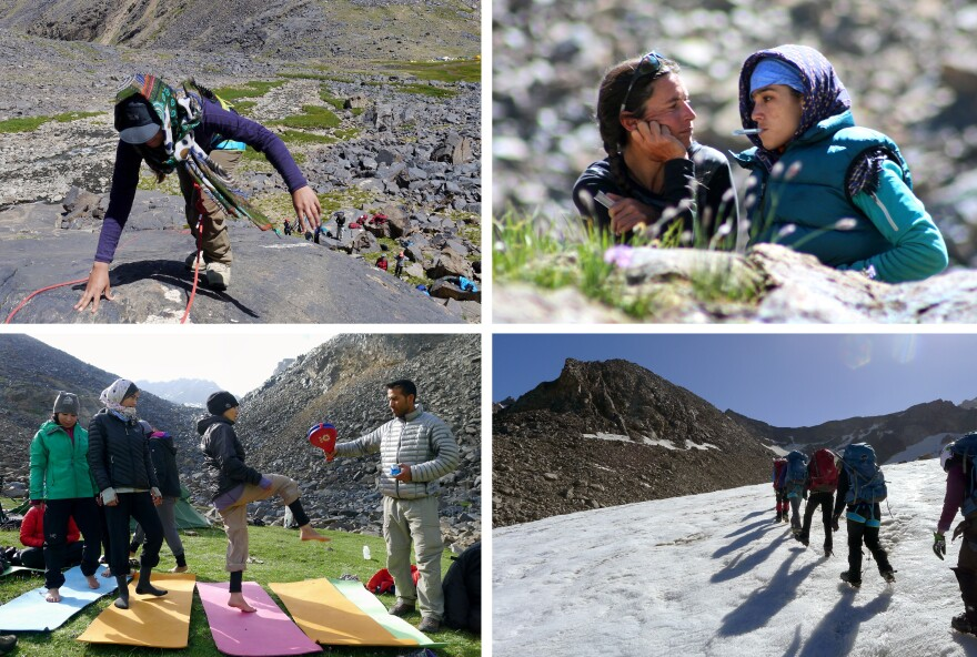 At top left, Soheila Hamidi climbs during a training day. At top right, Danika Gilbert takes the temperature of Yasameen Hassan. Gilbert kept careful track of how the girls and young women were doing physically. At bottom left, Afghan coach and guide Mohammed Azim holds a target for taekwando practice as Diba Azizi kicks. At bottom right, the team climbs a pocket glacier below Mir Samir.