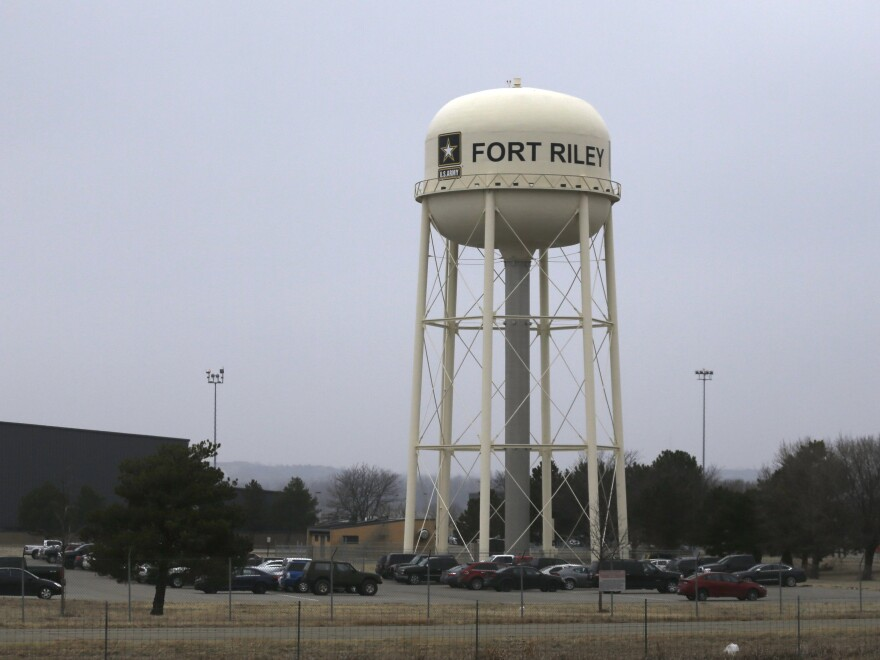 A water tower at Fort Riley, Kan., in a photograph taken in February. John T. Booker Jr. is accused of plotting a car bomb attack on the U.S. Army post.