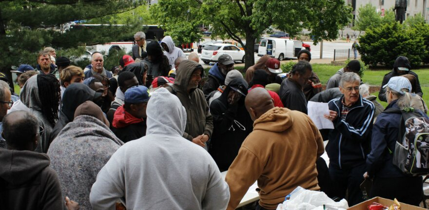 About 100 homeless people from St. Louis came to sign Larry Rice's petition asking the state to provide a building in front of City Hall/Market Street. On 04/27/2017