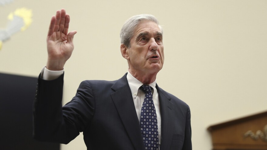 Former FBI Director Robert Mueller is sworn in before he testifies before the House Judiciary Committee on his report on Russian election interference in July.