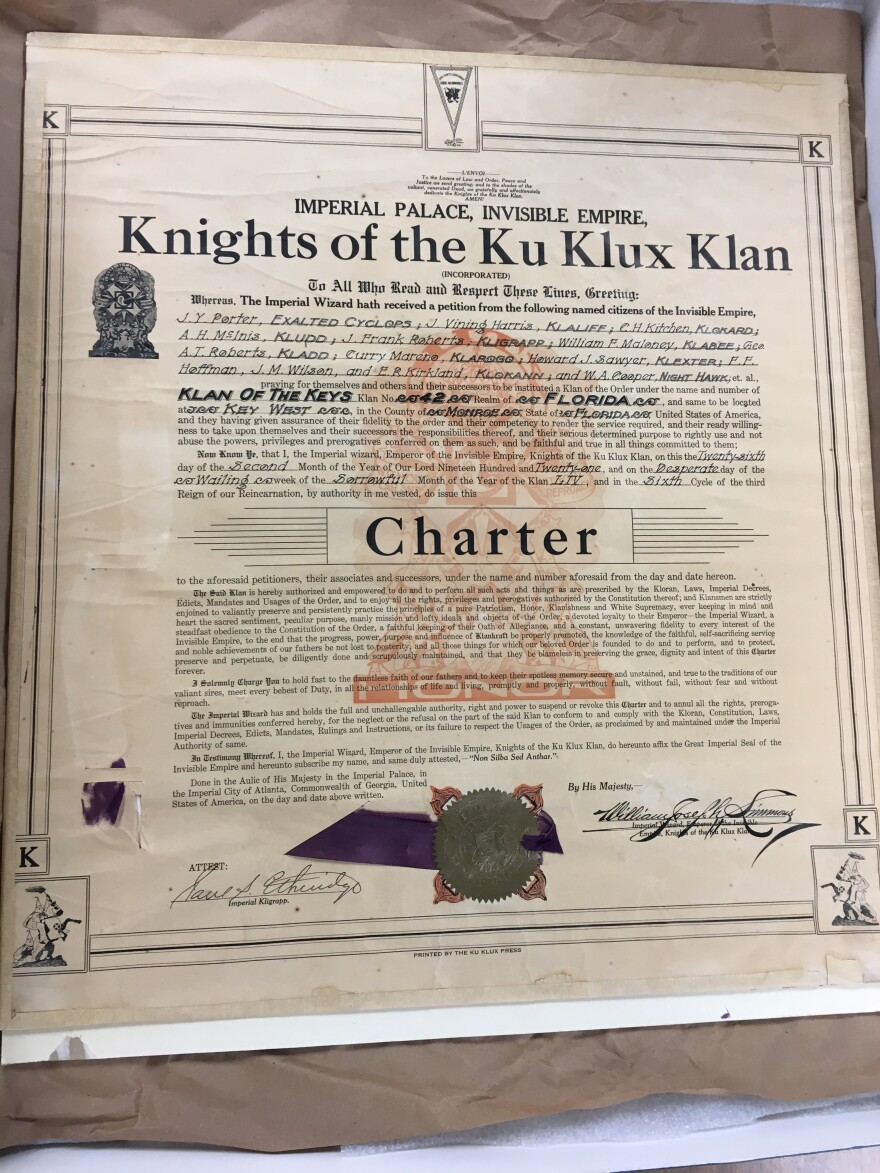 A Klan charter for a Klan of the Keys chapter in 1921 lists the men who held officials positions.