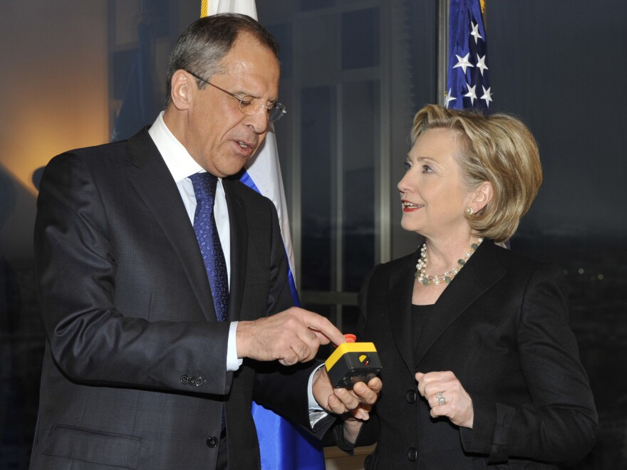 "In March 2009, then-Secretary of State Hillary Clinton presented Russian Foreign Minister Sergey Lavrov with a device with a red button symbolizing the intention to ""reset"" U.S.-Russian relations."