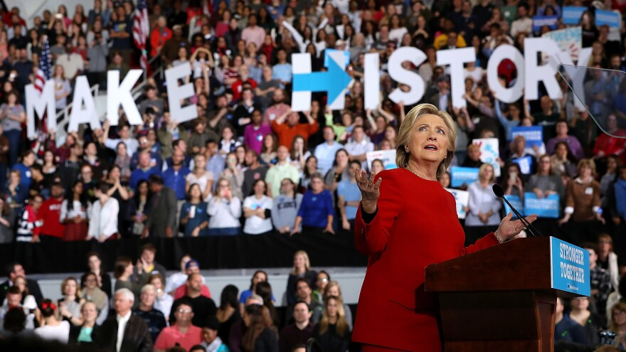 Democratic presidential nominee and former Secretary of State Hillary Clinton speaks during a midnight rally at North Carolina State University hours before the polls opened on Election Day. A glut of late-deciding Trump voters may have contributed to her loss.