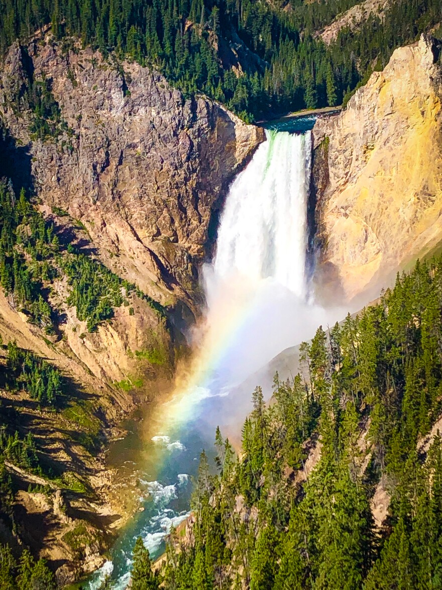 """The Lower Falls of the Yellowstone River are among the park's hundreds of waterfalls. The dramatic whitewater is just one reason National Park Service hydrologist Erin White calls Yellowstone """"America's first water park."""""""