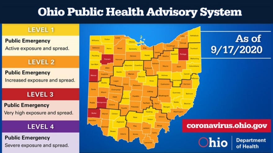 Map of ohio coronavirus alert levels by county.