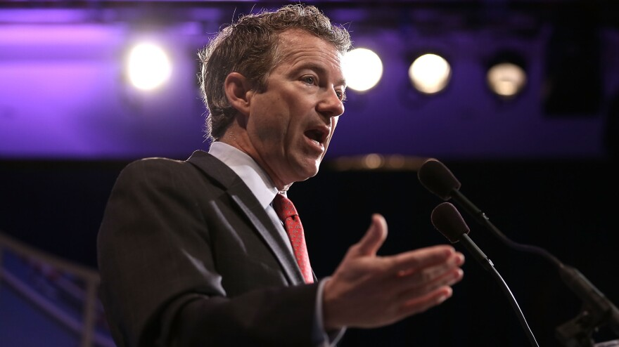 Sen. Rand Paul, R-Ky., shown speaking at a meeting of the U.S. Hispanic Chamber of Commerce on March 19, is promoting libertarian ideas as a way the Republican Party can be more inclusive.