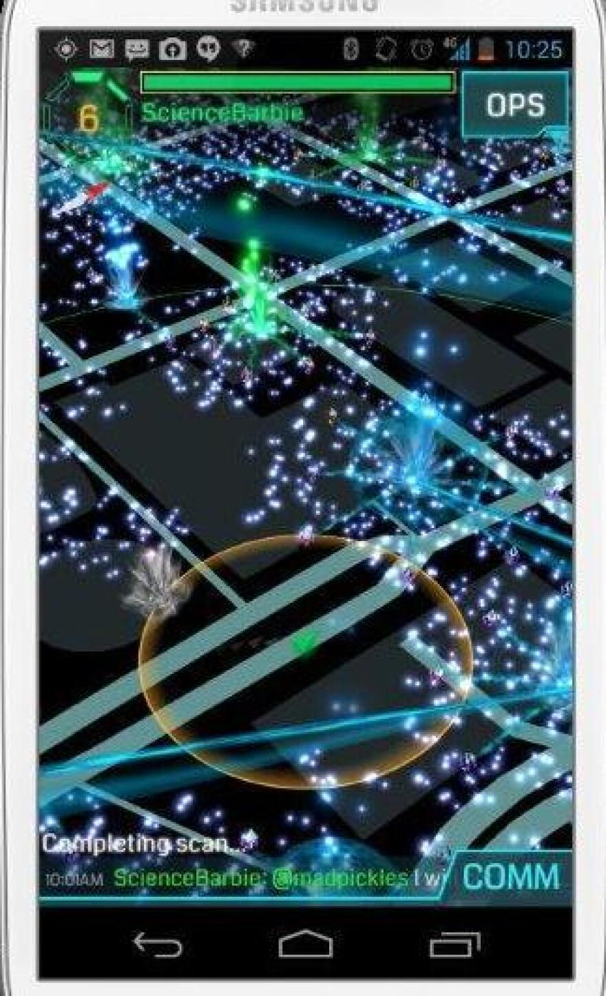 """A screen in Ingress shows """"exotic matter"""" a virtual blue-green fog that appears at specific locations around the world at certain times."""