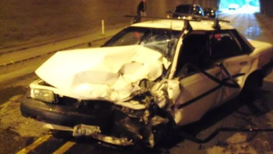 After its driver fainted Sunday, this Toyota collided with two other vehicles and the walls of a tunnel in Oregon.