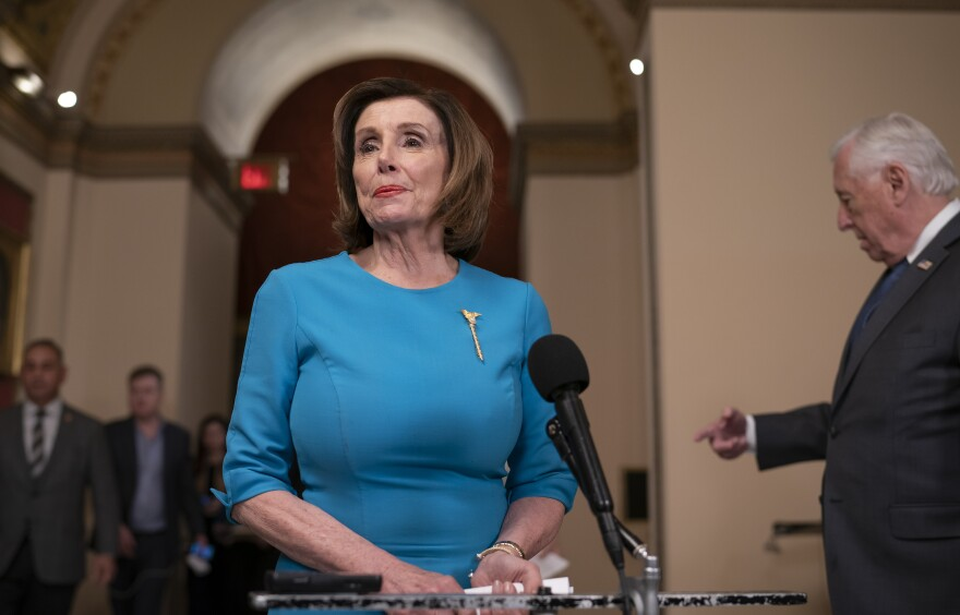 House Democrats, led by House Speaker Nancy Pelosi, have released their own version of the Senate's stimulus package in response to the coronavirus crisis. Pelosi is seen here on March 13 ahead of an earlier aid package deal.