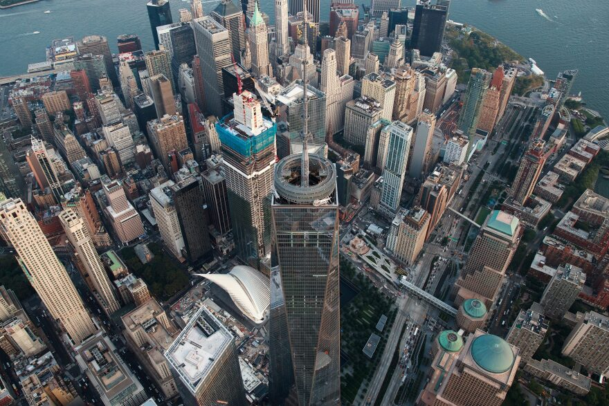 An aerial view One World Trade Center in Lower Manhattan, Sept. 8, 2016 in New York City. (Drew Angerer/Getty Images)
