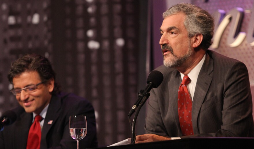 """Daniel Pipes (right) and Dr. M. Zuhdi Jasser argue against the motion, """"Better Elected Islamists Than Dictators."""""""