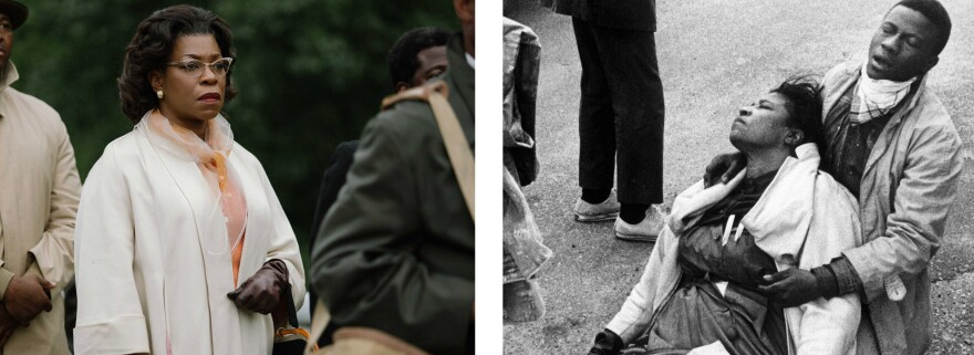Lorraine Toussaint (left) plays Amelia Boynton — seen at right being cared for by an unnamed marcher after being knocked unconscious in a police attack on Selma protesters.