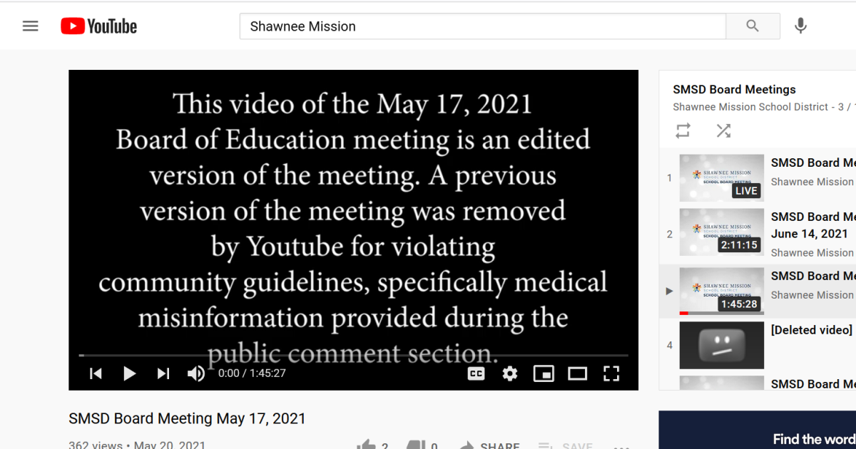 What Happens When A Kansas School Board Uses YouTube For Meetings And Someone Dishes Up Bad Science