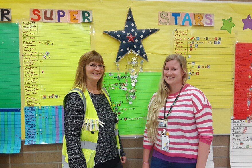 KidsLINK Coordinators LeAnne and Kaylee Grote stand in the room where they provide childcare before and after school at Meadowlark Elementary in Bozeman, Montana, November 21, 2019.