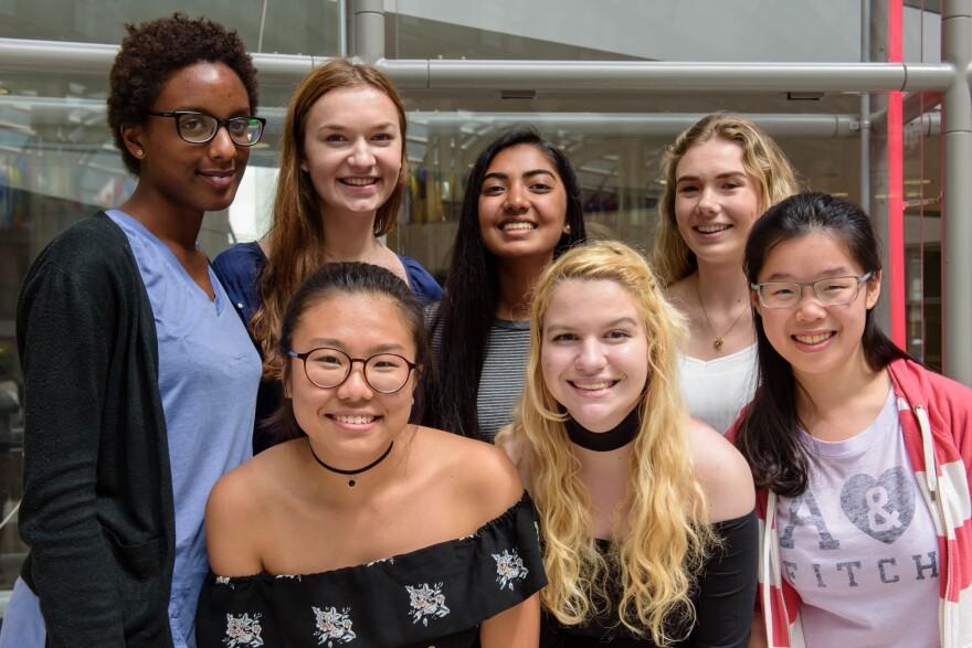 Girl Up activists pose during their leadership summit in Washington, D.C. Top row, left to right: Keza Latifah Mashenge, Fiona Adams, Nehal Jain, Sarah Gulley. Second row: Kyung Mi Lee, Sarah Hesterman, Janice Catherine Yang.