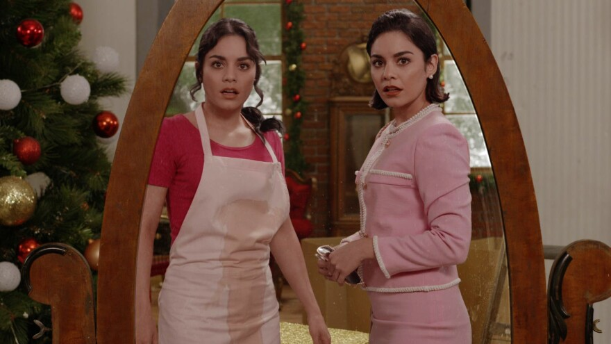 Vanessa Hudgens as both Stacy and Margaret in the Netflix holiday confection <em>The Princess Switch</em>.