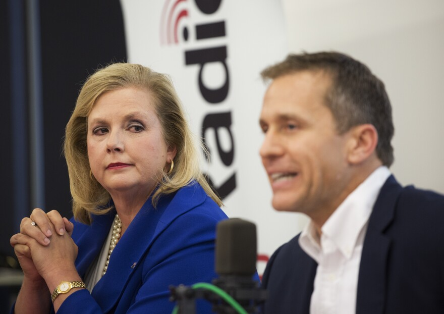 Catherine Hanaway looks on as Eric Greitens speaks at St. Louis Public Radio's GOP gubernatorial candidate debate.