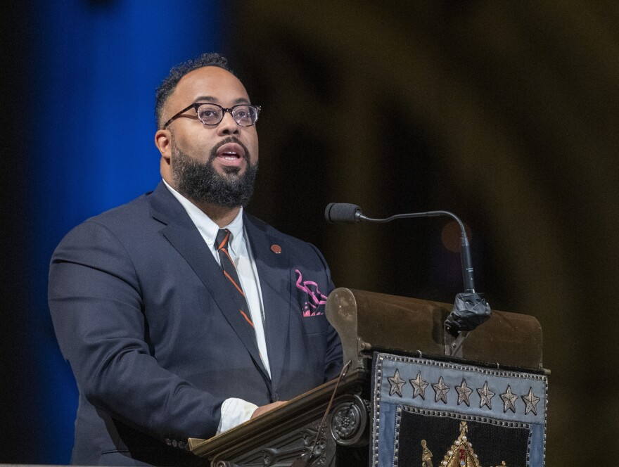 Poet Kevin Young speaks during the Celebration of the Life of Toni Morrison on Nov. 21, 2019, in New York.