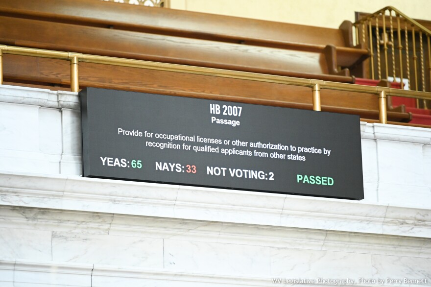West Virginia House delegates voted 65 to 33 to pass House Bill 2007 for out of state occupational license recognition on Thursday, February 18, 2021.