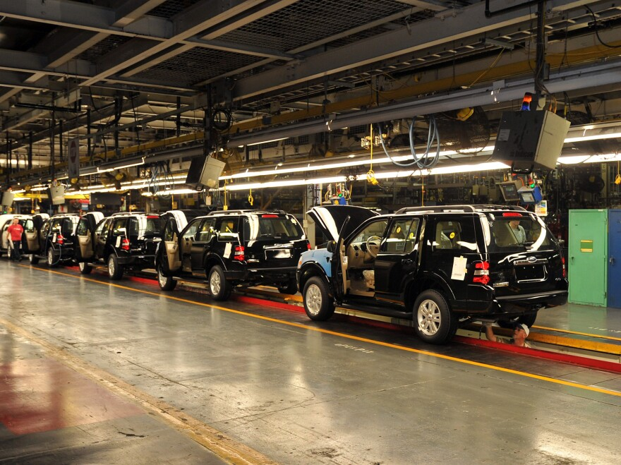 2010 Ford Explorers move through final assembly at the Louisville, Ky., plant. The Explorer is one of several vehicles subject to Thursday's recall.