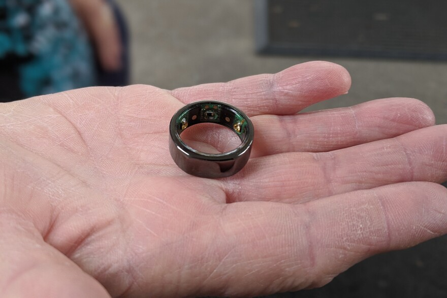 The Oura Ring tracker monitors an individual's body temperature, breathing, heart rate and other vital signs