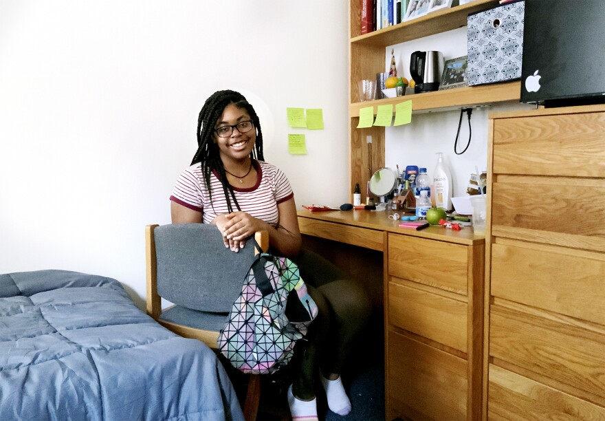 Madison Hall poses for a self-portrait while in quarantine inside her NYU dorm room on Aug. 27, 2020.