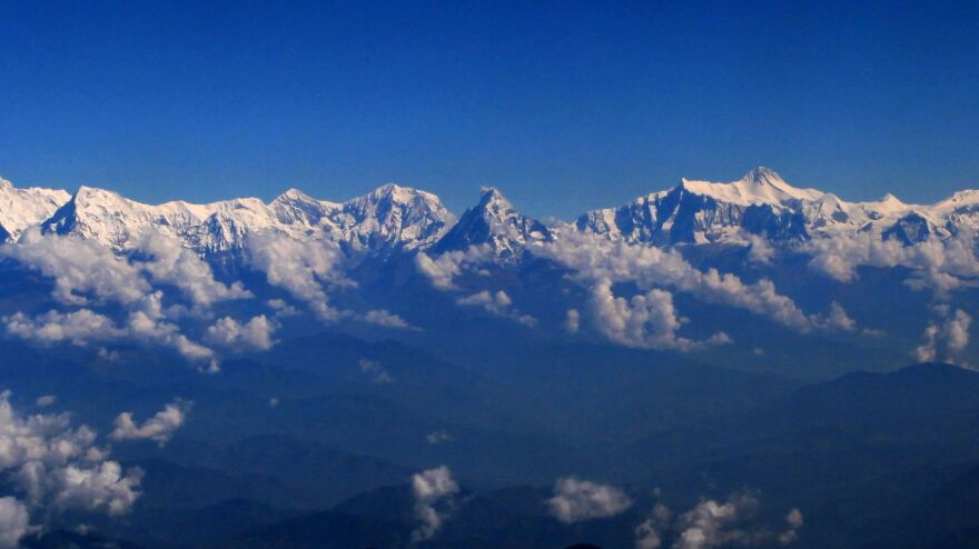 A view of Machhapuchhre (center) and the Annapurna Himalaya from Gulmi, Nepal.
