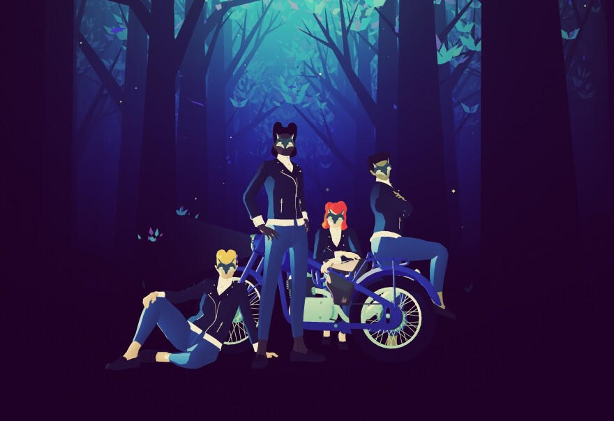 "<em>Sayonara</em> villains strike a pose in the game's ""Howling Moons"" chapter."