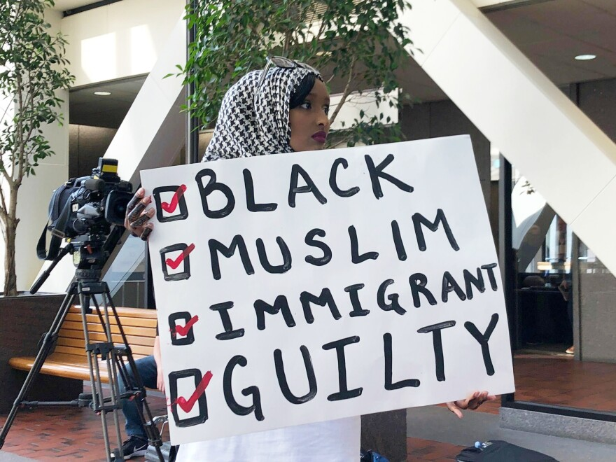 Muna Abdi of Minneapolis stands outside the courtroom during the sentencing of Mohamed Noor on Friday, June 7 in Minneapolis. Abdi said Noor was treated differently because he is a black Muslim and she wanted to stand in solidarity with him.