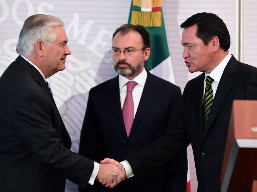 Secretary of State Rex Tillerson (from left), Mexican Foreign Minister Luis Videgaray and Mexican Interior Minister Miguel Angel Osorio Chong greet each other during a news conference in Mexico City on Thursday.