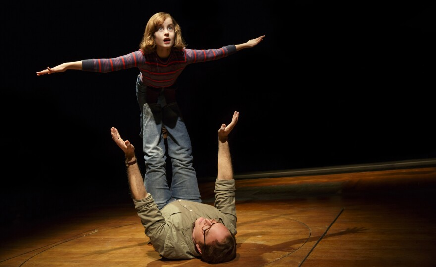 Sydney Lucas as Small Alison and Michael Cerveris as her father in the new production of <em>Fun Home.</em>