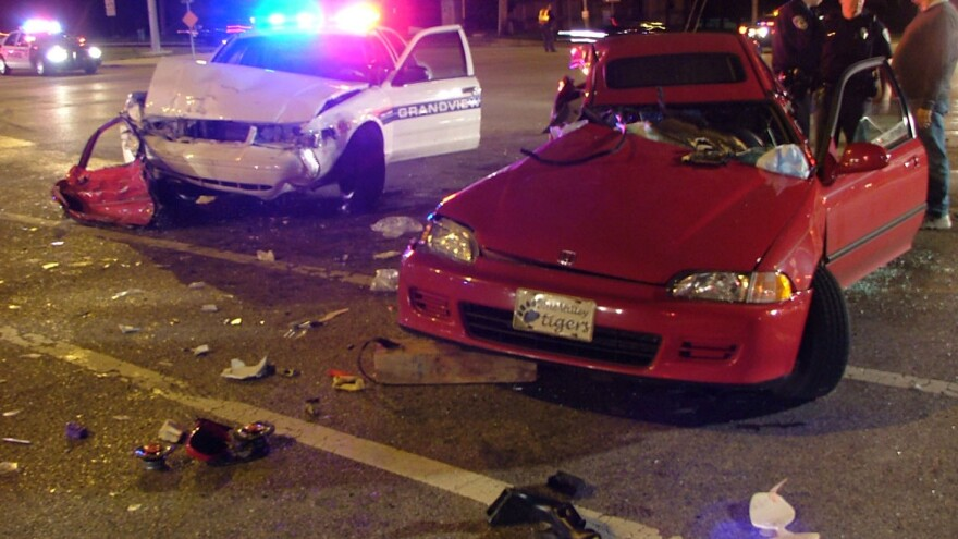 Pursuit chases have led to crashes, like this one in Leawood, Kan., in 2004, at least 706 times in the last 10 years.