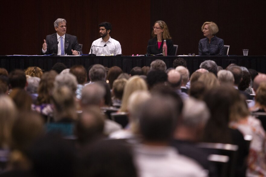 Mayor Steve Adler and council members Greg Casar, Kathie Tovo and Ann Kitchen
